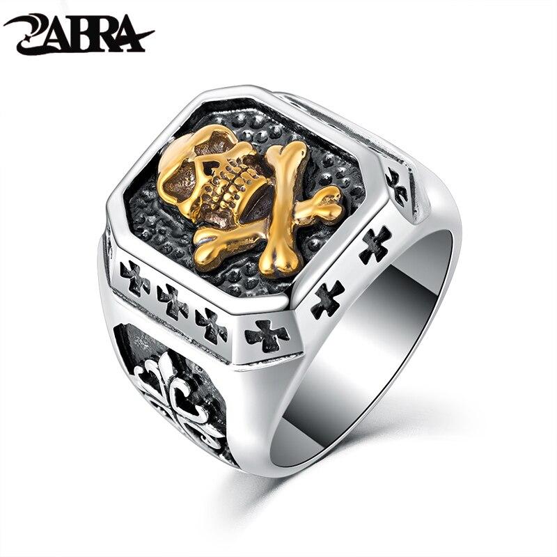 ZABRA 925 Sterling Silver 16 5mm Gold Color Skull Anchor Sculpture Cross Flower Ring Men Vintage