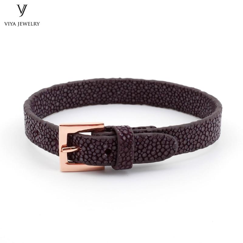 Simple Clasp Flat Stingray Python Cord Wrap Bracelet Charm Cuff Leather Men Bracelet 8mm Real Python Stingray Leather Wristband Adjust Bracelet (35)