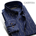 CAIZIYIJIA 4 Colors Hot Sale Long Sleeve Men Shirt 2017 New Arrival Striped Casual Shirt Button Down Camisa Masculina Slim Fit