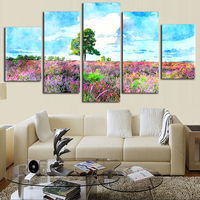 수채화 트리 패턴 캔버스 인쇄 서예 벽 거실 5 개 장식 예술