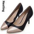 Nuevo 2016 de La Moda de Primavera de Alta Calidad de Las Mujeres Bombas Sexy talón Fino Dedo Del Pie puntiagudo Colores Mezclados Tacones Altos Casuales Zapatos de Las Mujeres OL D50
