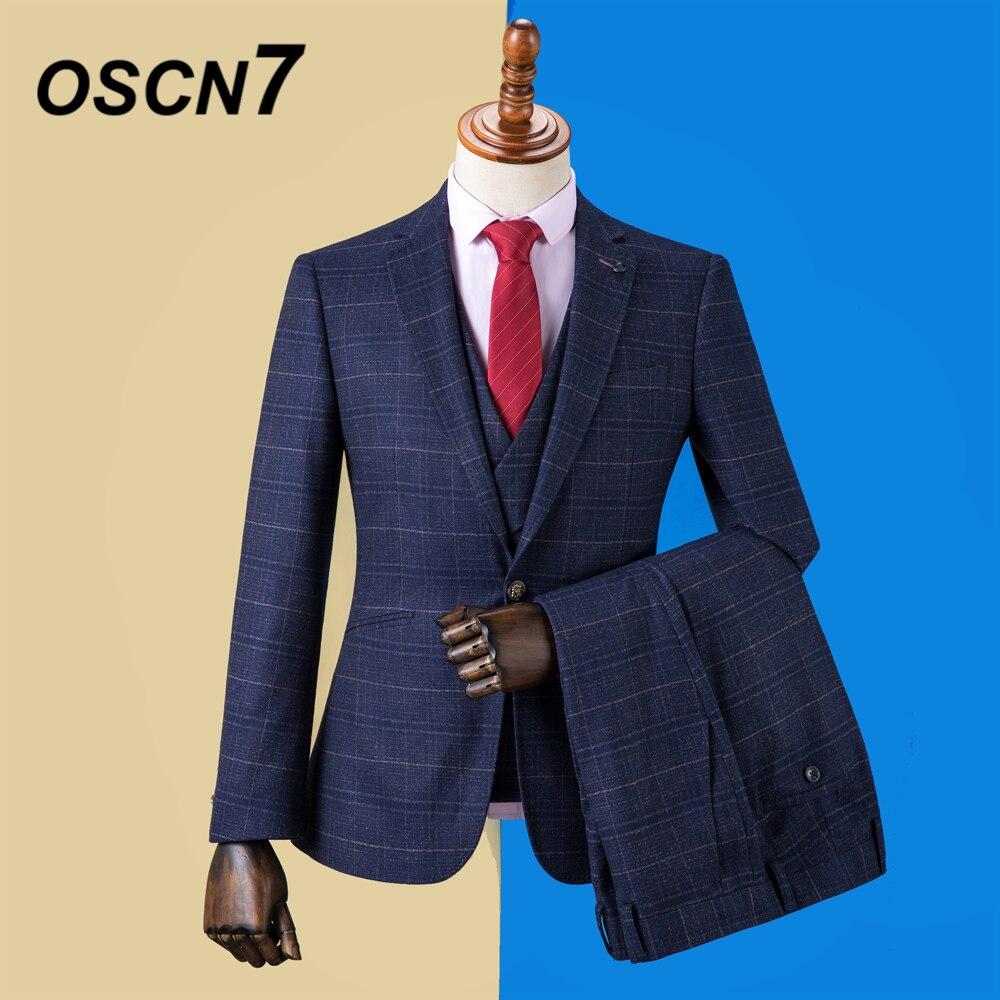 OSCN7 2019 Plaid sur mesure costumes hommes Slim Fit fête de mariage hommes sur mesure costume mode 3 pièce Blazer pantalon gilet DM-029