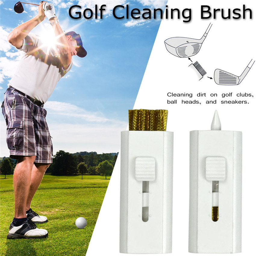 Golf Cleaning Brush Mini Training Aid Practice For Woods Irons Golf Clubs Grooves Cleaner Brush With Copper Wire White 5/10 Pack