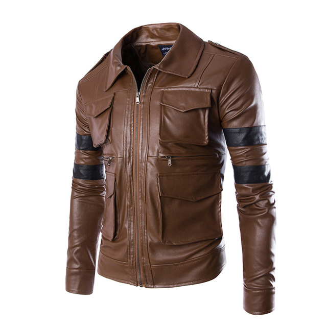 2016 Brands New Men's Leather Jacket Couro Masculino Bomber biker Leather Jackets For Men Skin jacket Coat 13M0506