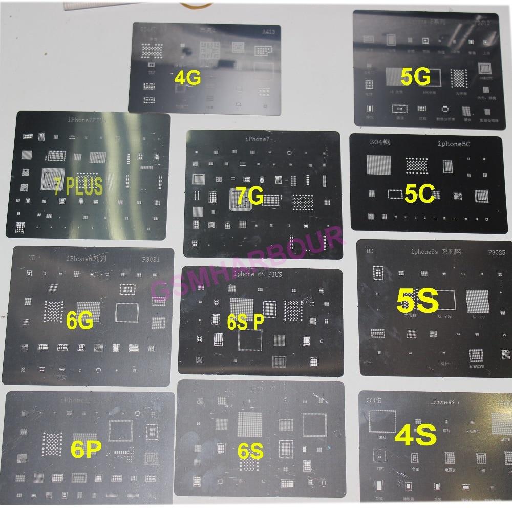 imágenes para 11 unids/lote conjunto completo de alta calidad dedicate bga reballing kit para iphone 4 4S 5 5S 5c 6 6 6 S 6 s + 7 y 7 plus