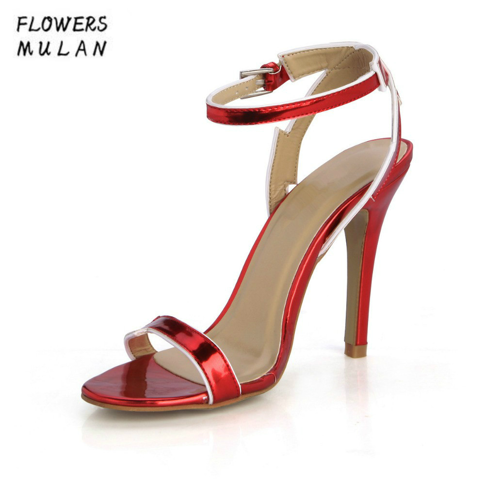 Red Patent Leather One Buckle Lady High Heels Gladiators Peep Toe Front & Rear Strap Sandals Shoes Summer Women Stilettos Thong shoesofdream women s 2015 summer peep pointed toe red anke strap patent leahter sexy spike high heels