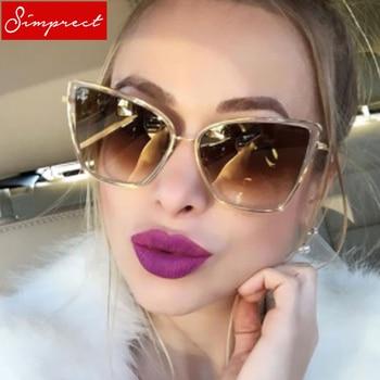 SIMPRECT Retro Big Cat Eye Sunglasses Women 2019 Black Mirror Sun Glasses Fashion Brand Designer High Quality Vintage Sunglass