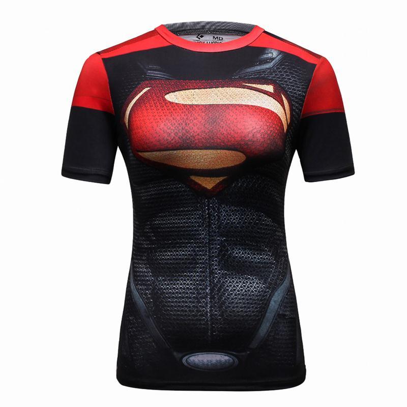 aee4843815 Novas Mulheres Superman Tops Camisas Camiseta de Super-heróis de Fitness Calças  Justas de Compressão Sob Tees Camiseta Feminina