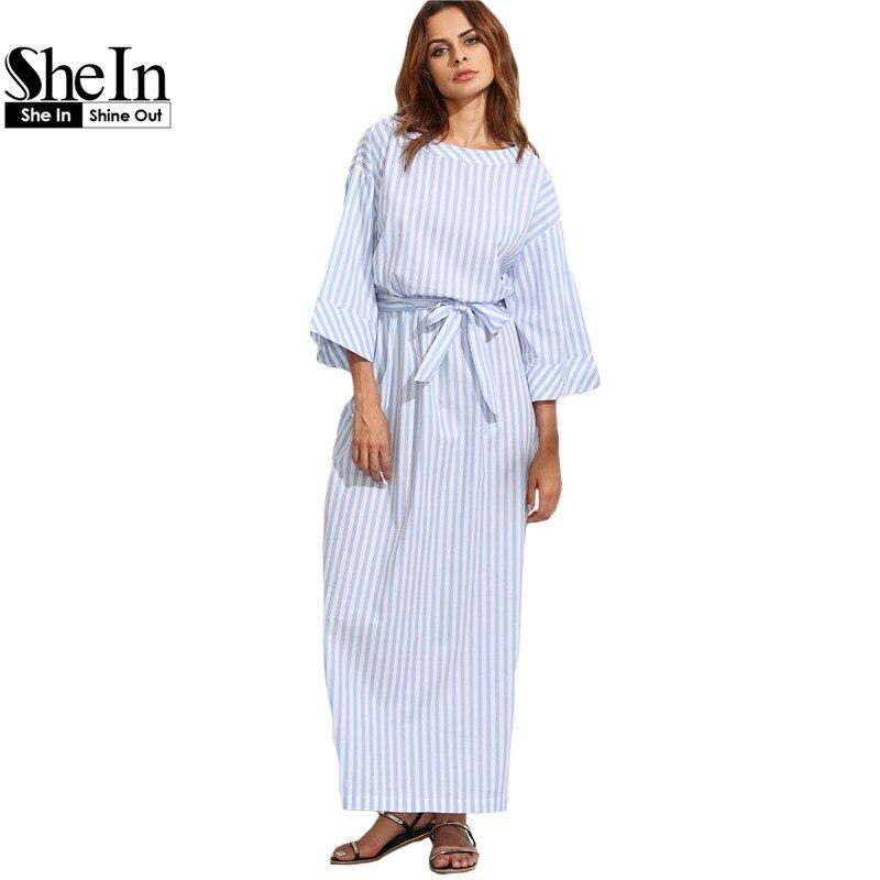 SheIn Blue Striped Bow Cintura Vestidos Largos Verano de Las Mujeres de Tres Cua