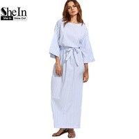 SheIn Blue Striped Bow Waist Long Dresses Womens Summer Three Quarter Length Sleeve Round Neck Casual
