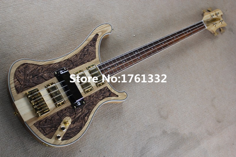 buy hot sale factory 4 strings natural wood electric bass with cnc engraving. Black Bedroom Furniture Sets. Home Design Ideas