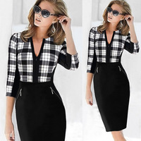 Brand New 2016 Plaid Houndstooth Office Dress Plus Size Vintage Women 3 4 SleeveV Neck Pencil