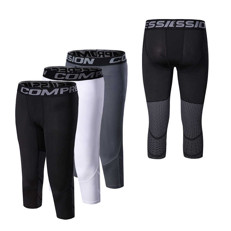 Компрессионные шорты для бега мужские спортивные дышащие быстросохнущие спортивные шорты для бодибилдинга и фитнеса 3/4 баскетбольные шорты для бега