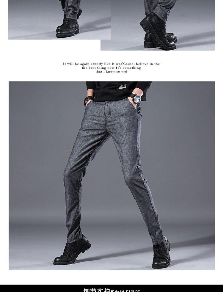 HTB140OTLAzoK1RjSZFlq6yi4VXaL Men's Business Casual Pants Trend Designer Korean Style Slim Male Trousers Classic Plaid High Quality Straight Stretch Pants Men