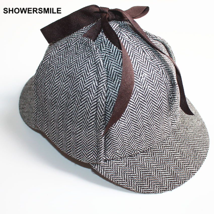 SHOWERSMILE Brand Sherlock Holmes Detective Hat Unisex Cosplay Accessories Men Women Child Two Brims Baseball Cap Deerstalker classification of breast lesions using water resonance analysis