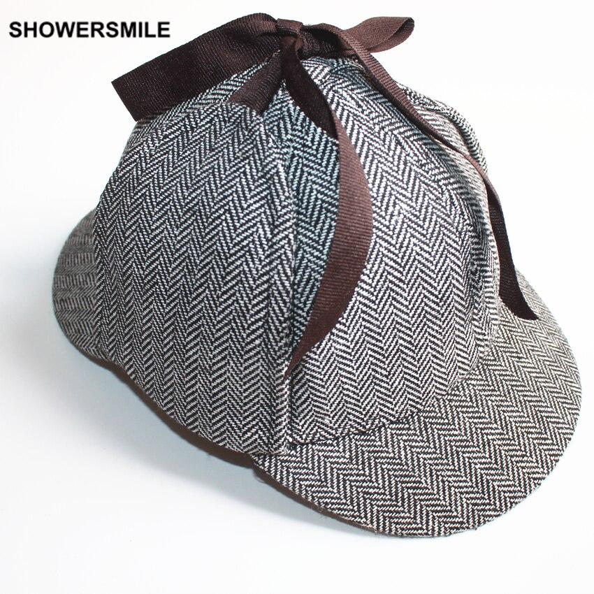 Aliexpress.com  Comprar SHOWERSMILE de Sherlock Holmes Deerstalker sombrero  accesorios Unisex hombre mujer sombreros de invierno con orejeras gorra de  ... 926d1bf936f