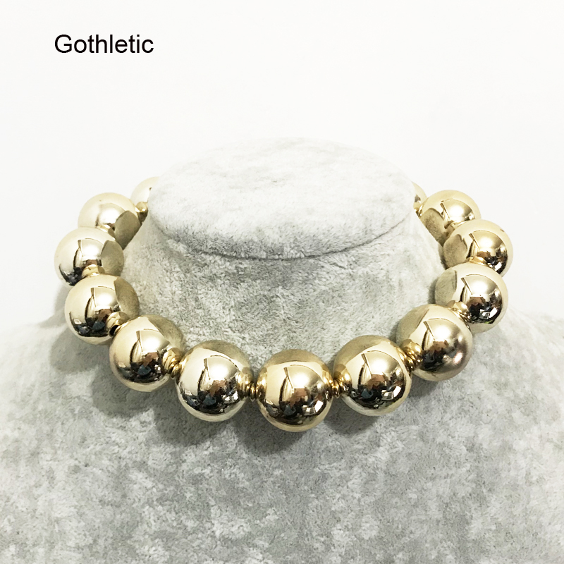 Gothletic Gold/Rhodium Color Statement Choker Necklace 22 Mm Big Ccb Bead Short Collar Necklace For Women Fashion Jewelry 35 Cms by Gothletic