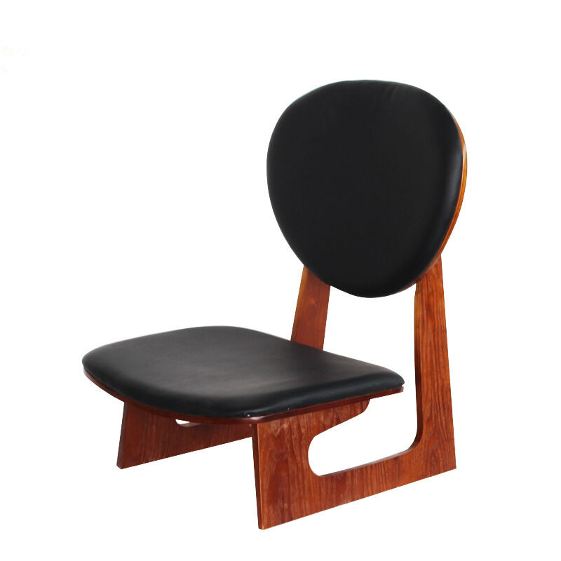 Japanese Style Wood Low Chair Stool Mahogany Finish Living Room Furniture Leisure Kneeling Chair Meditation Seat Leather Cushion free shipping dining stool bathroom chair wrought iron seat soft pu cushion living room furniture