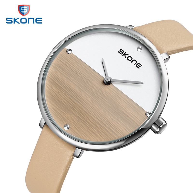цены на SKONE Women Fashion Watches Beige Leather Strap Quartz Watches 2017 Brand Luxury 6MM Ultra-Thin Wood Dial Relogio Feminino #9468
