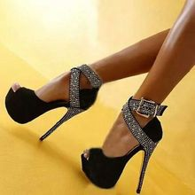 Platform Women High Heel Shoes Sexy Rhinestone  Thin Heels Pumps Stiletto Classic Party Shoes Crystals Buckle Shoes Free Ship female shoes spring extreme high heels wedding shoes women pumps shoes stiletto heel rhinestone ladies shoes platform