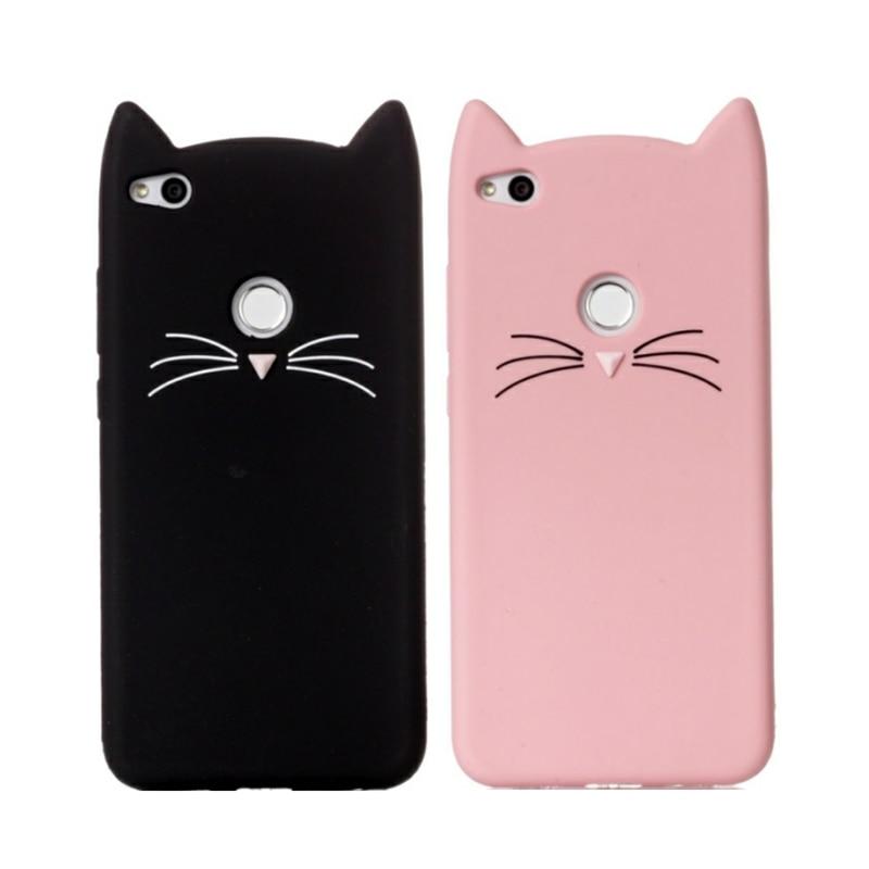 3D Cartoon Smile Cases Cat Ears Beard Soft Silicon Case For Huawei P10lite P9 P8 Lite 2017 Rubber Cover P8 Lite P9lite 2016 Case