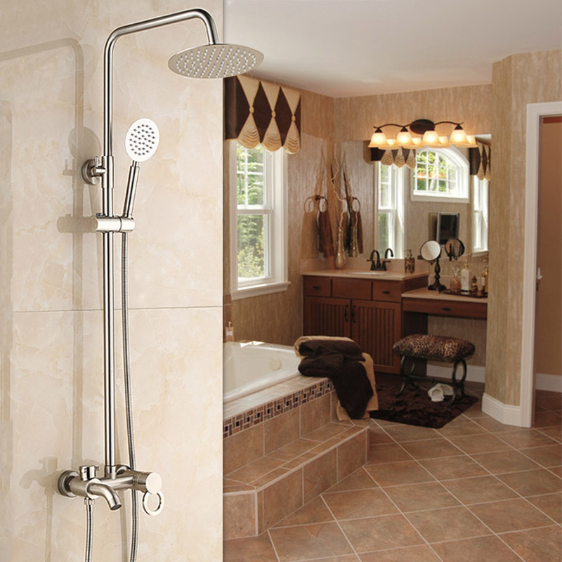 Luxury  Nickel Brushed Brass Shower Faucet Set Single Ceramic Handle Tub Mixer Hand Shower
