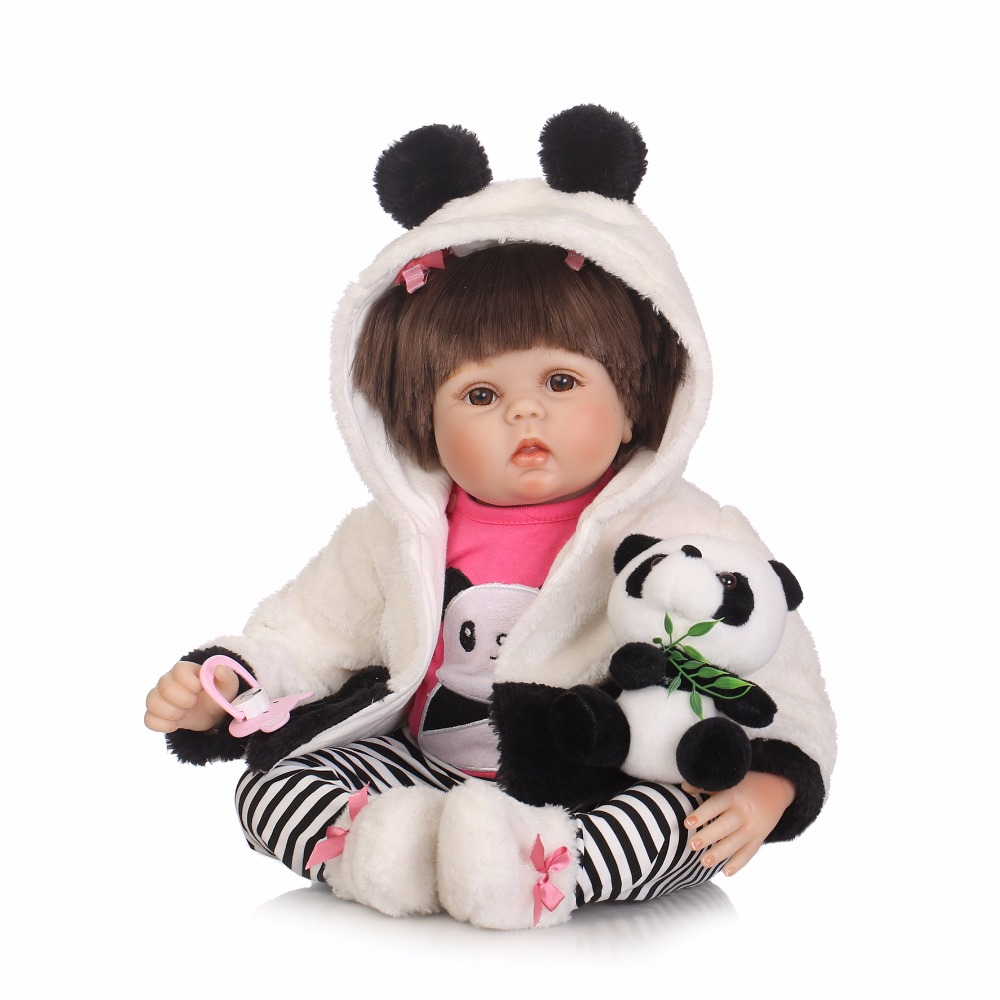 Chinese Panda Style 22 inch Silicone Reborn Baby Girl Doll for Sale Handmade Dolls Toys for Children Gifts Bonecos Bebe Reborn