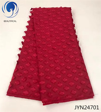 Beautifical Appliques lace fabric 3d french net Hot sale big red african for wedding dress 5yards JYN247
