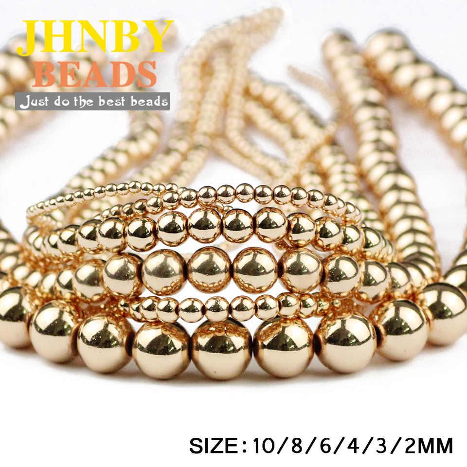 Jhnby Bulat Hematit Manik-manik 2/3/4/6/8/10 Mm Batu Alam 14 Gold warna Manik-manik Longgar Bola Perhiasan Gelang Membuat DIY Aksesoris