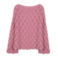 SETWIGG Sexy Sweet Crochet Knitted Sweater Pullover Top Women Flared Sleeved Loose Sweater Jumper Autumn Pink Sweater Knitwear