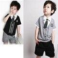 Cavalheiro Roupas de Bebê Menino Definir meninos maré Blusa + shorts Atender Crianças Conjuntos de Roupas de Algodão Crianças Casuais Laço Botão T-shirt + Calças