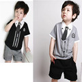 Gentleman Baby Boy Clothes Set tide boys Blouse+shorts Suit Kids Cotton Clothing Sets Children Casual Tie Button T-shirt+Pants