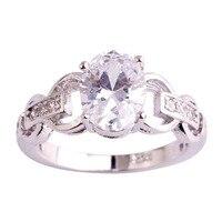 lingmei Wholesale Fashion Popular White Topaz 925 Silver Ring Size 6 7 8 9 10 11 Women Men Rings Wedding Jewelry Free Shipping