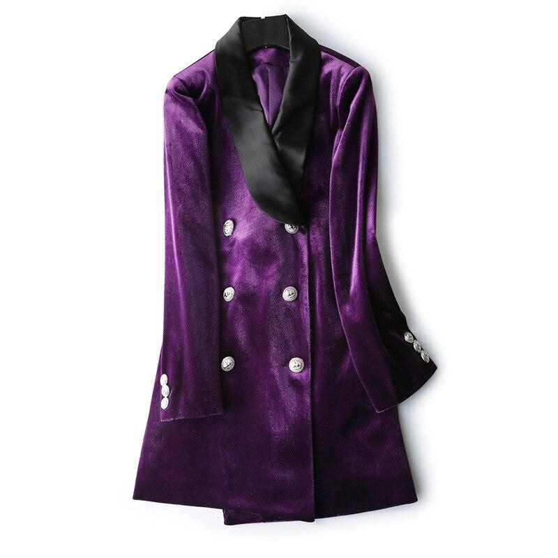 2019 Nouvelle Or Velours Blazer Femmes Manteau Violet Vert Longue dames Blazers feminino OL Formelle Dessins De Mode Costume vestes