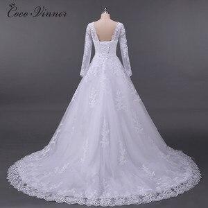 Image 4 - Vestidos De Noiva الكرة ثوب الزفاف 2020 طويلة الأكمام اللؤلؤ تول رداء Ee Mariage Casamento ثوب زفاف الصين W0009