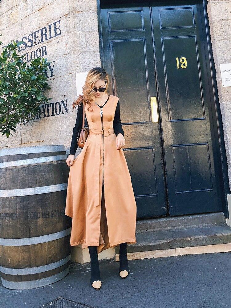 Mode coat Hem Printemps Irrégulière Nouvelle Longue 2019 Robe Femmes Trench Fente Côté Manches De À vAZ6qHw