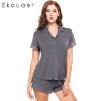 Ekouaer Short Sleeve Pajama Pyjamas Set Women Sleepwear Loungewear Lace Patchwork Slim Nightwear Knit Slim Pajamas Set Homewear