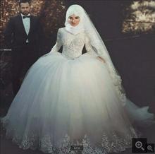 Ball Gown Wedding Dresses Long Sleeve Princess Islamic Muslim Wedding Dress Lace Appliqued beading bridal gowns Vestido de noiva