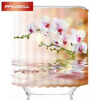 Pastoral White Orchid Shower Curtain Waterproof Mildew Polyester Fabric Bathroom Shower Curtain With 12 Hook