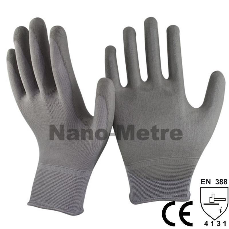 NMSAFETY 13 Gauge Cheapest Knitted Nylon Coating PU Palm Working Safety Gloves