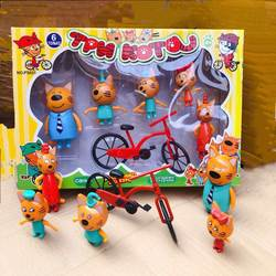 Русский мультик Три кота в Фигурки героев из пластика Счастливая семья ,играть с ребенком, горящие товары новогодние игрушки подарок на