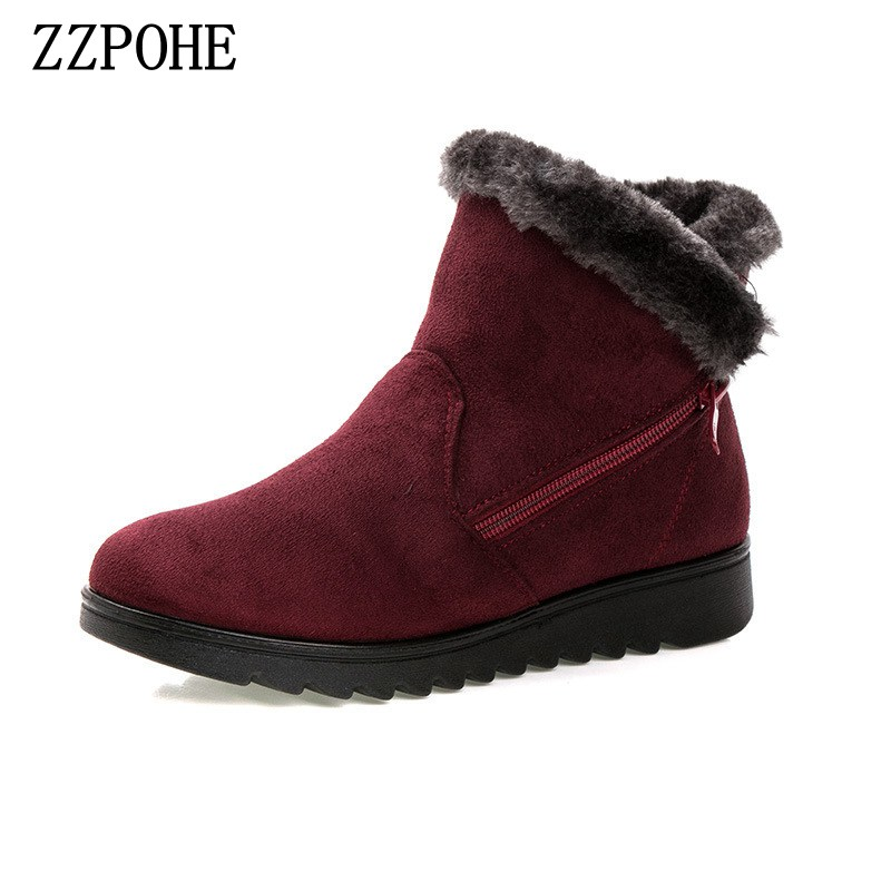 ZZPOHE women winter boots women's flat comfortable ankle boots non-slip elderly casual plush cotton Warm Soft Snow Boots