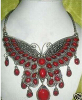Free shipping >>@ >818 vintage pretty old tibet silver inlay coral jewlery necklace