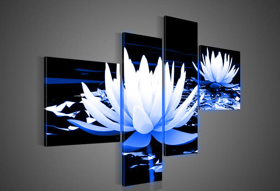 Free shipping hand paint pieces modern oil painting on canvas for home decoration black white blue lotus flowers min painting u calligraphy from home with