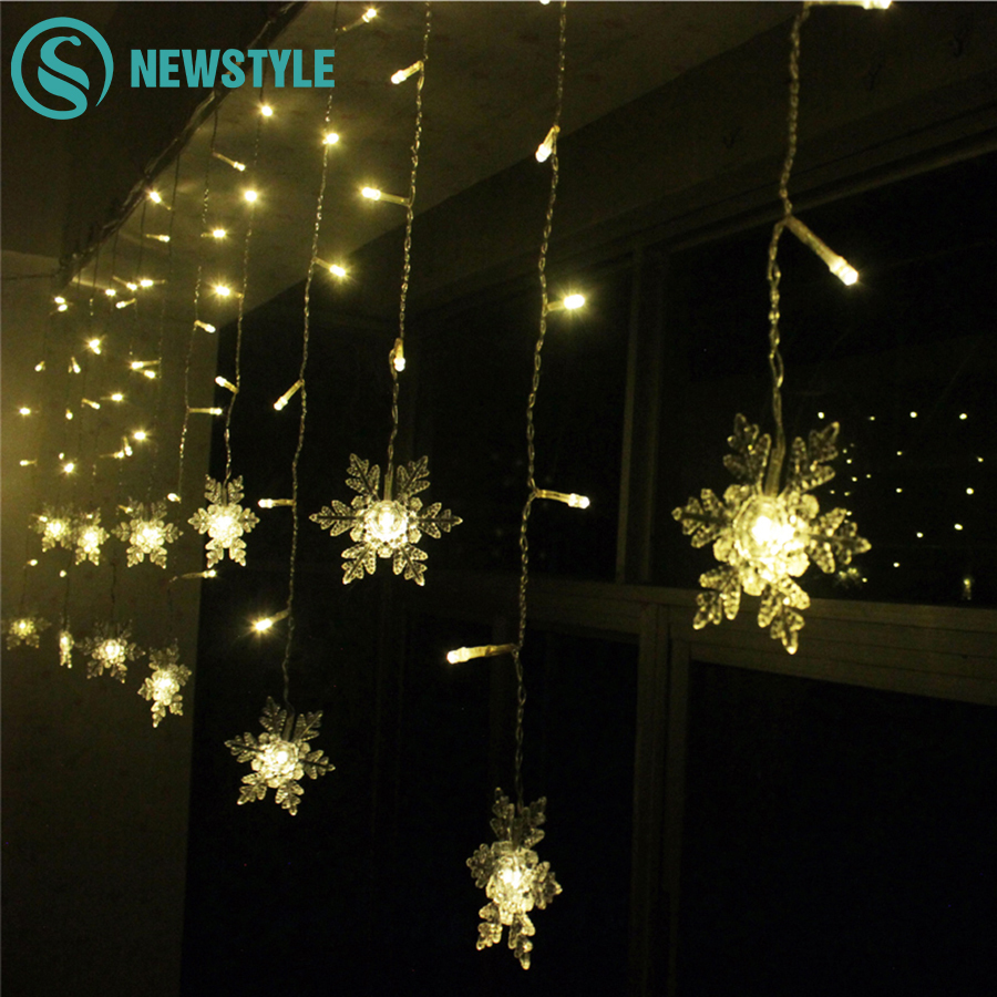 96 LED Christmas Lights AC220V Fairy Snowflake LED Curtain String Lighting For Holiday Wedding Garland Party Decoration