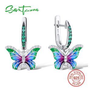 Image 1 - SANTUZZA Silver Earrings For Women 925 Sterling Silver Butterfly Earrings Silver Cubic Zirconia brincos Party Jewelry Enamel
