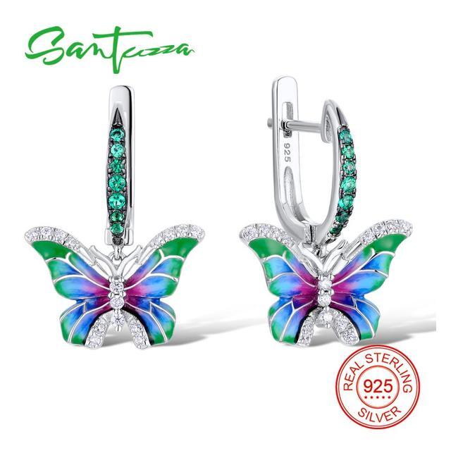 SANTUZZA Silver Earrings For Women 925 Sterling Silver Butterfly Earrings Silver Cubic Zirconia brincos Party Jewelry Enamel