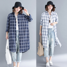 Plus Size Large Plaid Blouse Long Sleeve for Women Cotton Linen Shirt Kimono Cardigan Top Summer Autumn Winter Loose Clothing