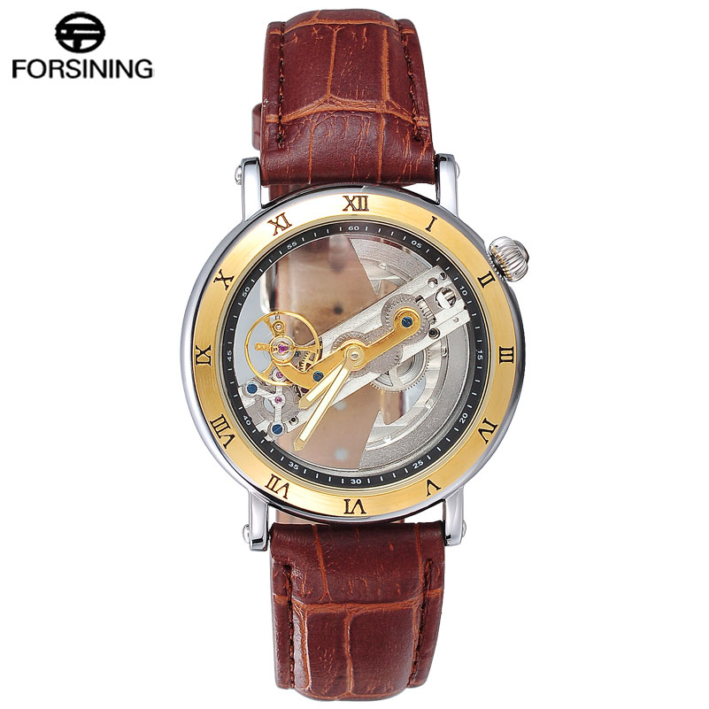 FORSINING Men Watches Luxury Top Brand Leather Automatic Mechanical Watch Black Color Relogio Masculino