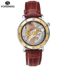 FORSINING Men Watches Luxury Top Brand Leather Automatic Mechanical Watch Black Color Relogio Masculino forsining brown leather belt golden bezel transparent case steampunk double sided hollow men automatic watches top brand luxury